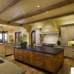 美式别墅大厨房装修吊顶效果图图片