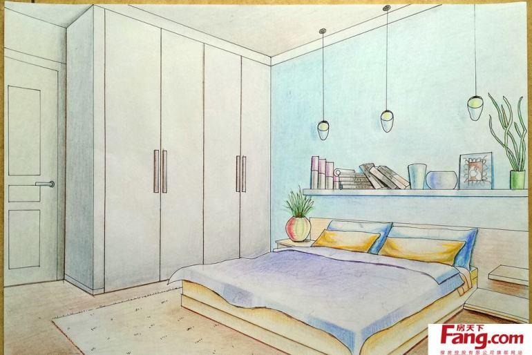 简单卧室手绘效果图