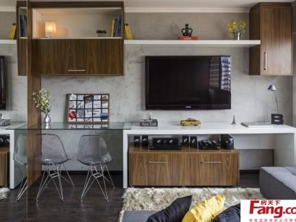 30平单身公寓装修电视墙图片