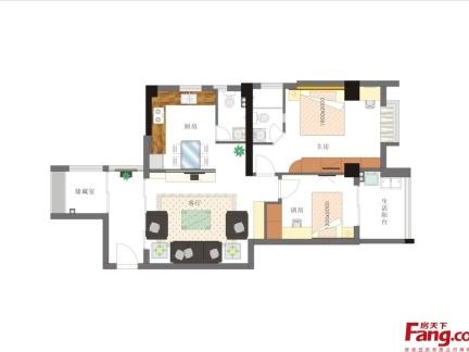 两室一厅家装平面设计图-2018复式楼一楼两室两厅平面图 房天下装修