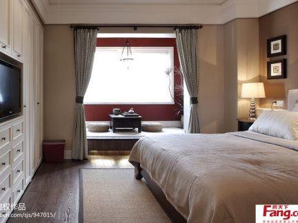 现代美式风格卧室壁柜电视背景墙效果图
