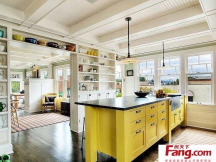开放式厨房岛台效果图欣赏