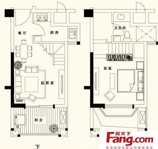 复式单身公寓平面图