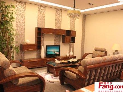 中式装修客厅电视机背景墙图片欣赏