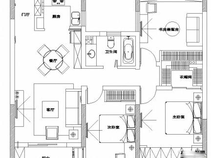 018三室一厅平面图 房天下装修效果图