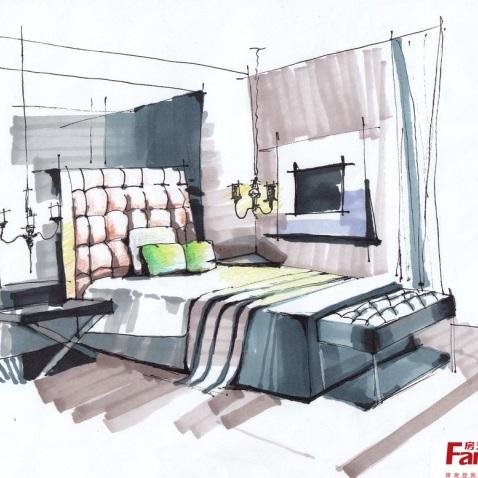 现代简约小卧室室内设计手绘图片