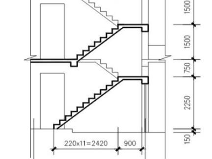 双跑楼梯剖面图设计图片