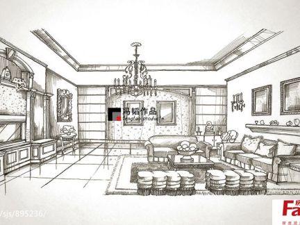 客厅室内手绘效果图欣赏
