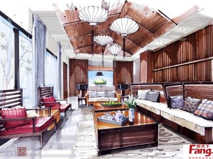 新中式客厅室内设计手绘效果图