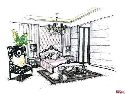 2016卧室室内手绘效果图-房天下装修效果图