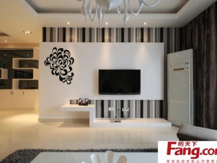 新中式风格黑白米电视背景墙装修效果图
