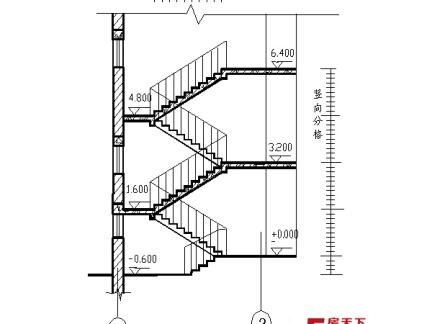 二层楼梯剖面图