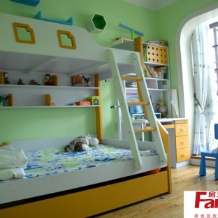 现代风格双人儿童房上下铺装修效果图图片