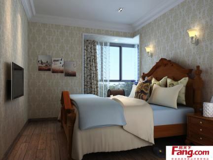 美式风格卧室液体壁纸装饰效果图