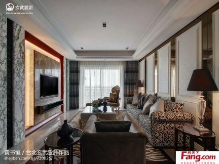 欧式风格客厅大理石瓷砖电视背景墙装修效果图