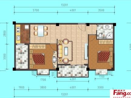80平米二室一厅平面图图片