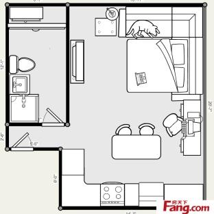 单身公寓平面图大全