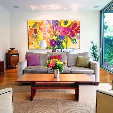 客厅沙发手绘背景墙-搜房网装修效果图