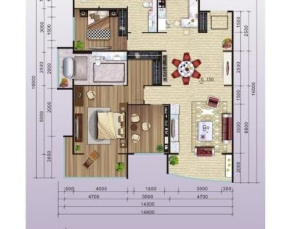 2018二居室长方形房屋设计图纸 房天下装修效果图