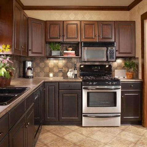 厨房整体实木橱柜效果图图片欣赏