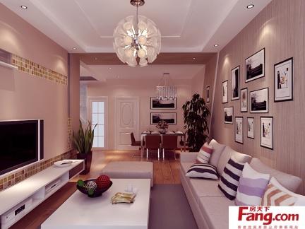 简约温馨的二居室客厅电视背景墙装修效果图大全2014图片