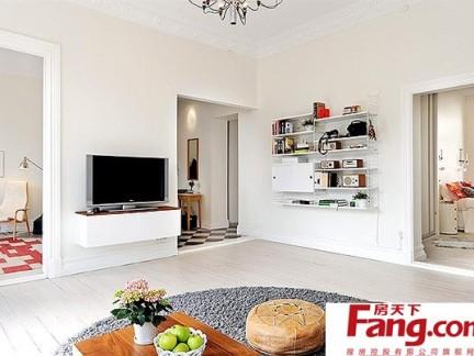 90平小户型清新宜人的客厅电视背景墙装修效果图