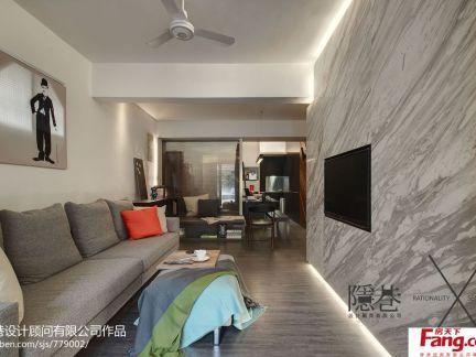 现代风格客厅石材电视背景墙装修设计图片