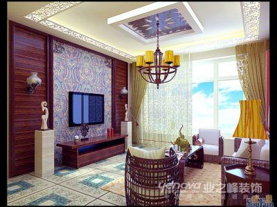 东南亚风格-99.21平米三居室装修样板间