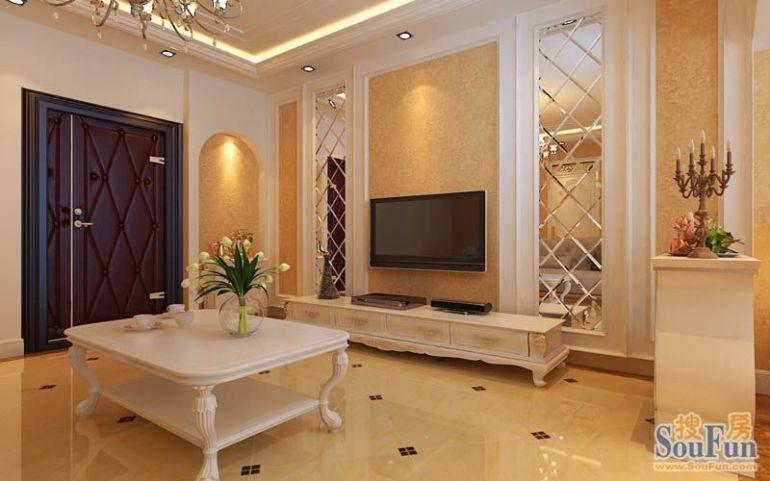 电视背景墙采用菱形玻璃