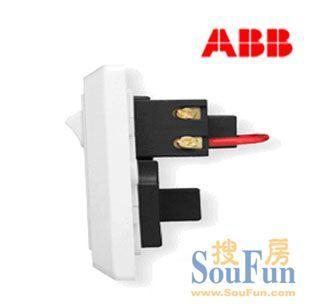 【ABB开关插座】德逸系列/白色/扁圆两用/四孔带开关插座-