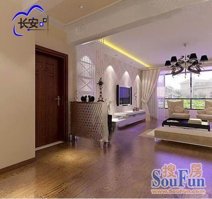客厅直线单边吊顶,走廊吊顶美化过梁.入门鞋柜功能性及美观性为一体.