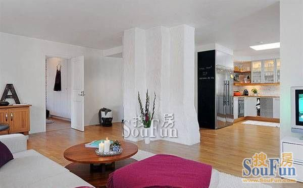 孚泰公寓 混搭风格 93平米二居室装修图片高清图片