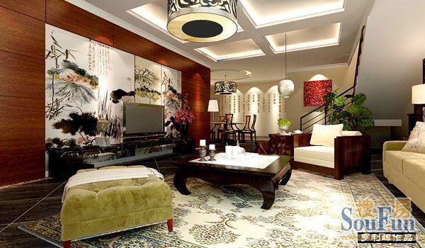 业主的要求定位为新中式,以胡桃木护墙板和国画作品装点电视背景墙图片