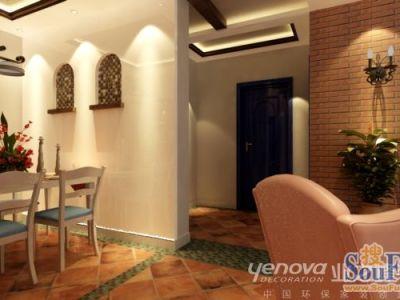 东南亚风格-90平米二居室装修样板间