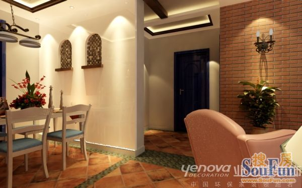 东南亚风格-90平米二居室-装修样板间