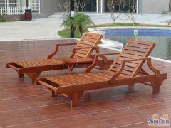 地中海之风户外实木沙滩椅户外桌椅