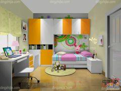 卡诺亚浪漫清新青少年房,黄白间隔组合衣柜,电脑桌椅,收纳柜