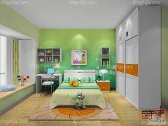 卡诺亚现代俏皮可爱青少年房,绿色墙纸,电脑桌椅,衣柜,组合柜