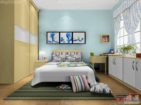 卡诺亚现代特色整体卧室,窗台柜,电脑桌,定制衣柜,床头柜,床