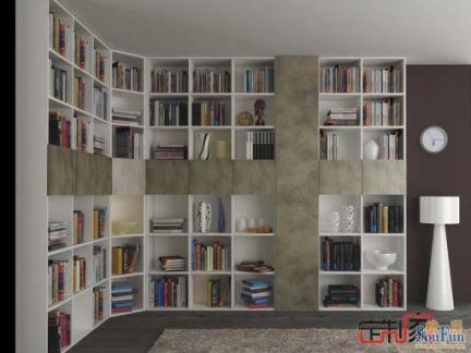 卡诺亚现代简约书房,l型整体书柜图片
