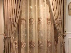 米色麻布帘盘花纱帘客厅刺绣卧室