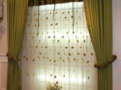 绿色麻布现代风格客厅卧室窗纱