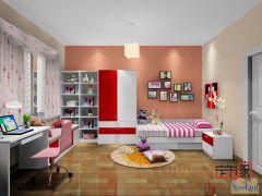 卡诺亚现代可爱风青少年房,衣柜,窗台柜,书桌椅,陈列柜,床