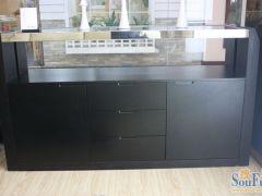 顾家工艺款餐边柜 家居时尚简约 黑色玻璃 橡木贴皮储物柜KA