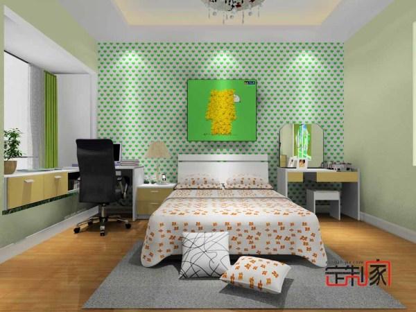 卡诺亚现代简单卧房,梳妆台,床,电脑桌,飘窗,卧室设计效果图