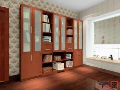 卡诺亚新中式整体书房,推拉门加厚整体书柜,定制书柜001