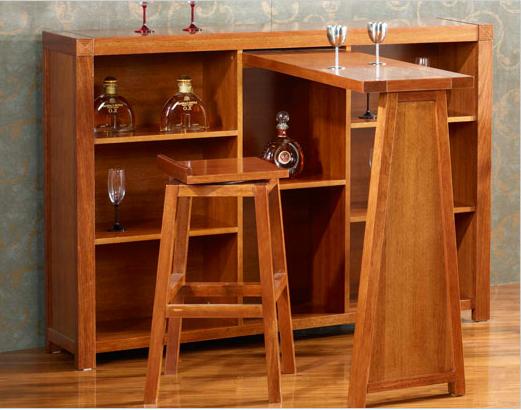 喜得屋 海棠木实木家具 实木吧台椅 吧台桌 欧式简约酒柜 S
