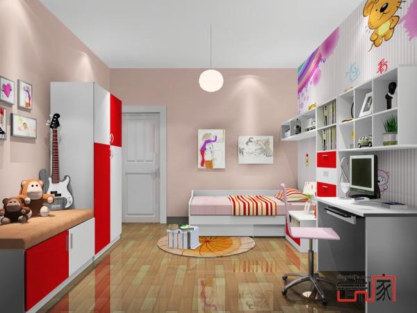 卡诺亚现代青少年房,粉色青少年组合柜,电脑桌,衣柜,床004