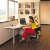 索菲亚白橡木定制电脑桌 订做现代简约玻璃门台式电脑桌书柜组合图片
