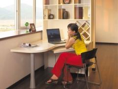 索菲亚白橡木定制电脑桌 订做现代简约玻璃门台式电脑桌书柜组合